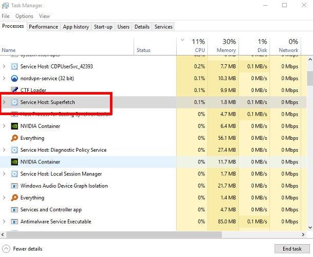 Napraw użycie 100 jednostek centralnych Windows 10 Superfetch