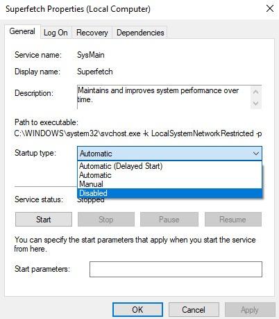 Napraw użycie 100 jednostek centralnych Windows 10 Wyłącz Superfetch
