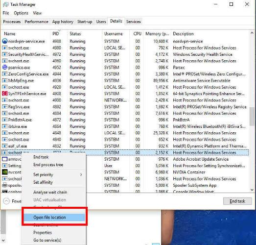 Napraw użycie 100 procesorów Windows 10 Wyłącz lokalizację otwartego pliku