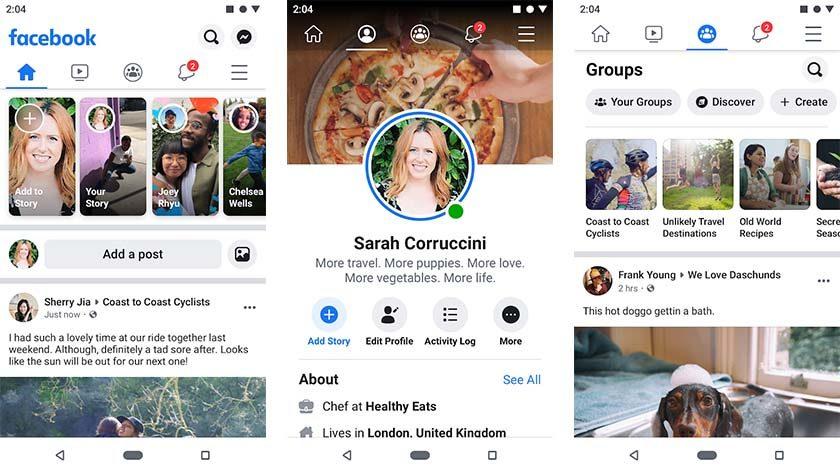 Facebook    - aplicativos principais como Instagram