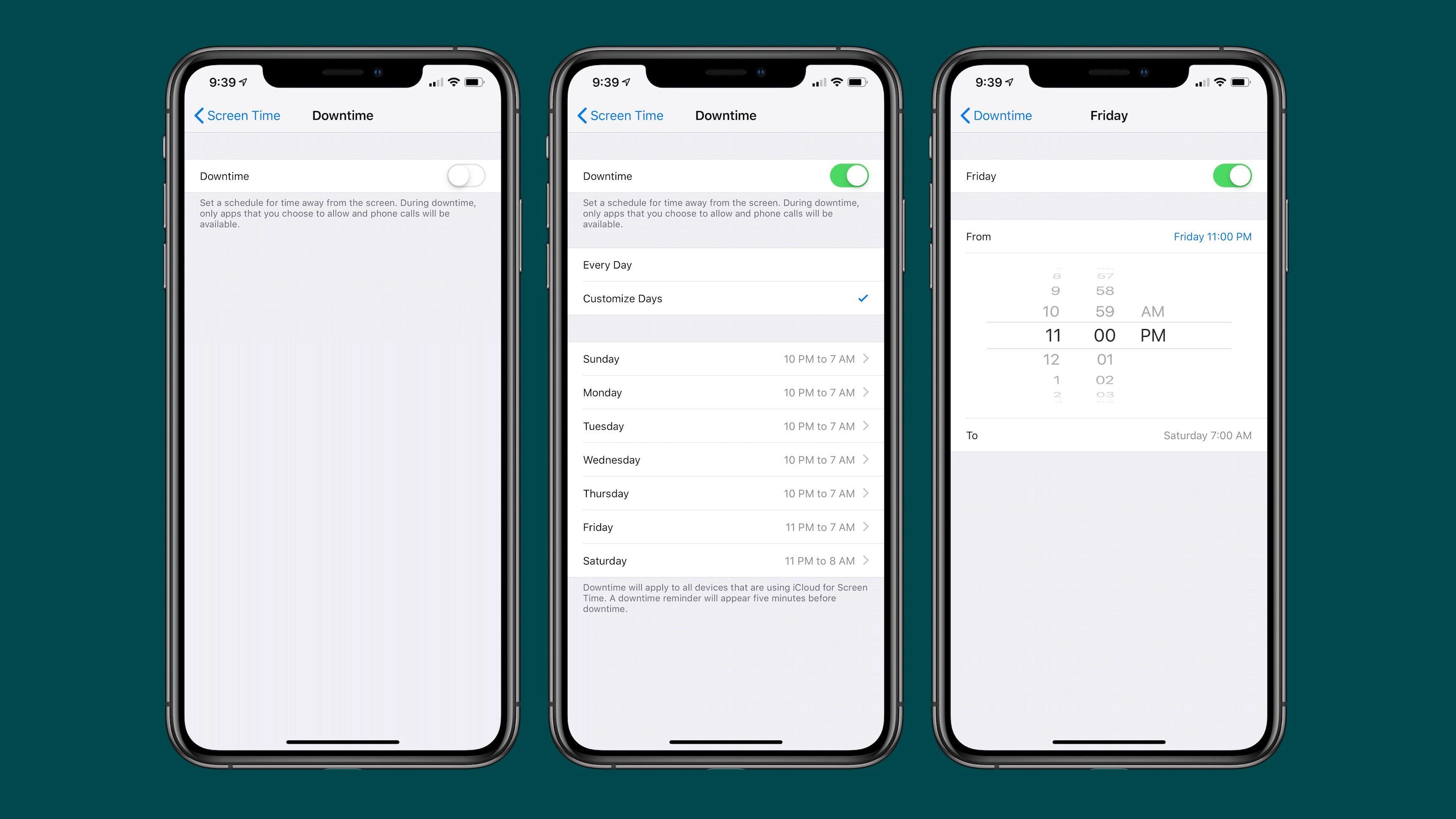 iOS 12.2 Beeta antaa sinun säätää seisokkeja tietyinä viikonpäivinä