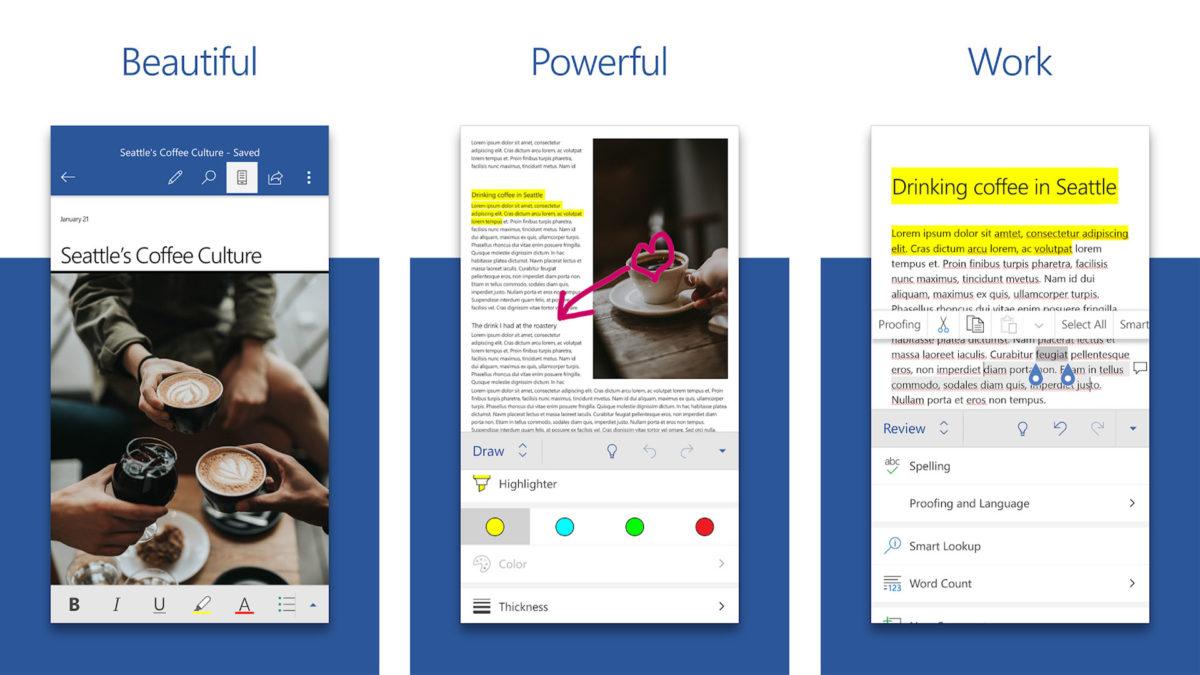 Скриншот Microsoft Word для лучших приложений для Android