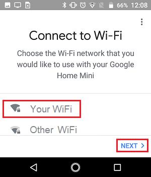 Google ev cihazınız üçün Wi-Fi şəbəkəsini seçin
