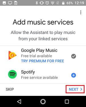 Musiqi xidmətləri ekranını Google Əsas tətbiqetməsinə əlavə edin