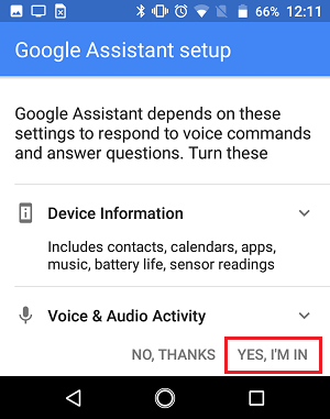 Google Assistant        Google Əsas tətbiqetməsində icazələrin ekranı
