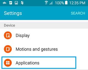 Bir Android telefonundakı Parametrlərdəki tətbiqlər sekmesini