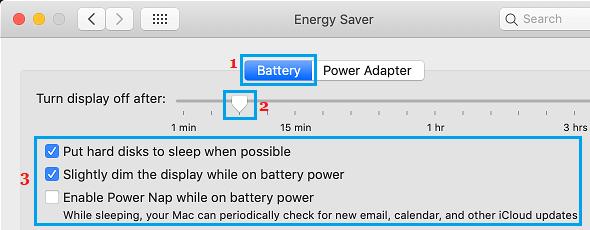 Mac-da enerji qənaət parametrləri