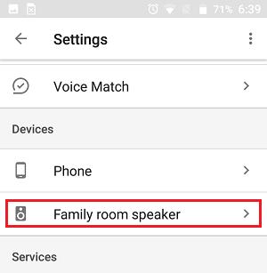 Google Əsas cihazı Google Ev tətbiqetməsindəki Daha Parametrlər ekranında