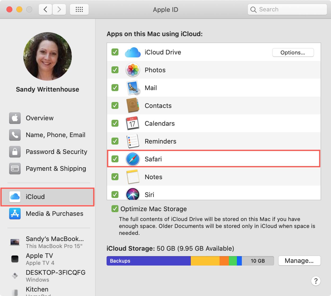 Pref.  systém Apple ICloud Safari Mac ID