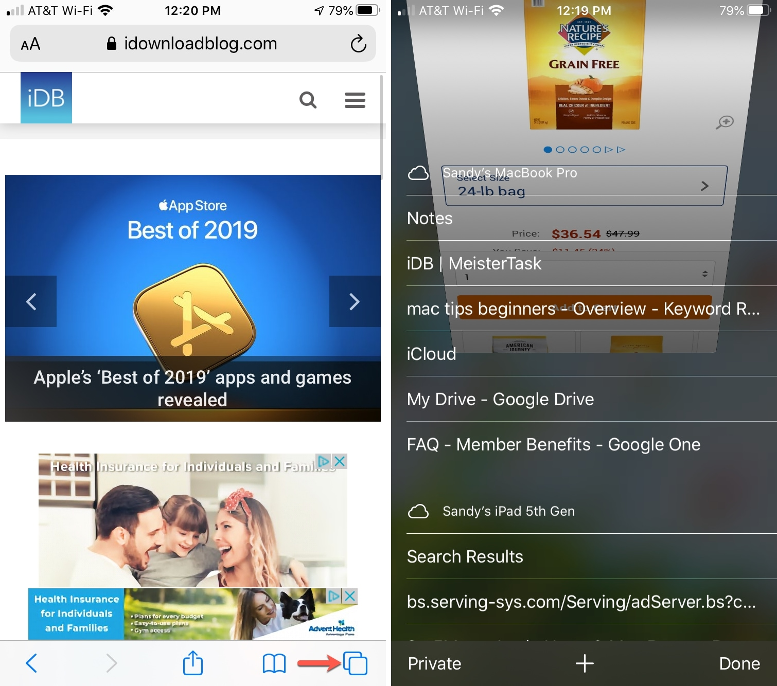 Safari Otvorte obľúbené položky v iPhone