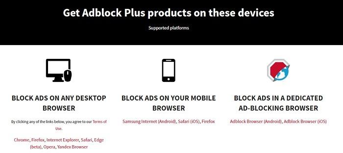 Plataformas do navegador Adblock Plus suportadas