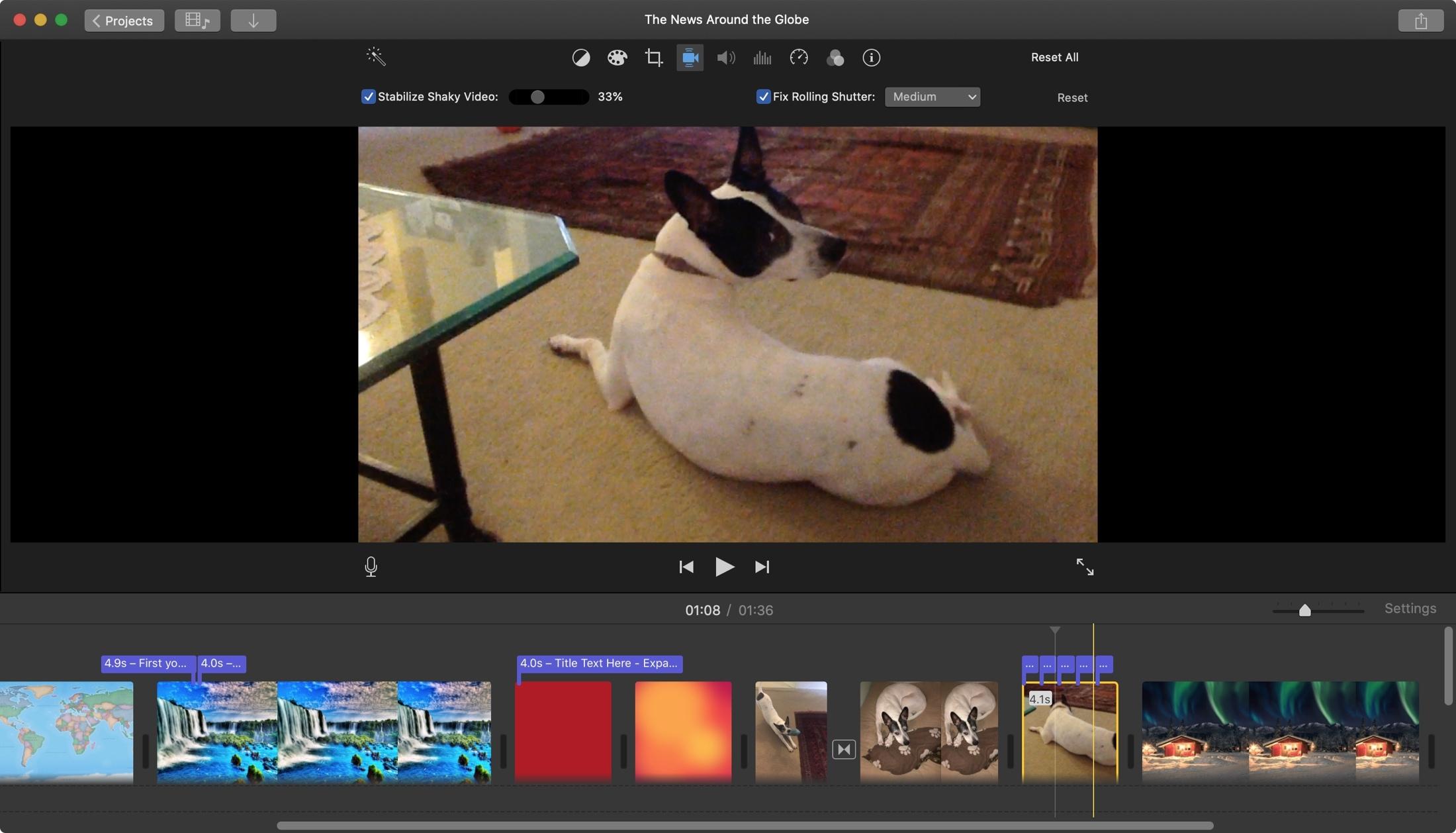 Järkyttävien videoiden ja kaihtimien korjaaminen Mac-tietokoneessa iMovie