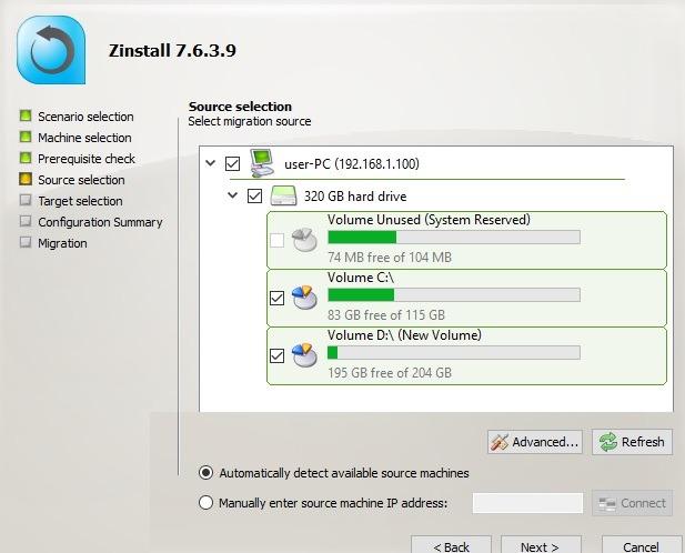 Zinstall Selecione a fonte de migração no computador de destino