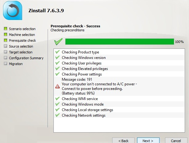 Pré-requisitos para a migração do Zinstall Verifique o computador de destino