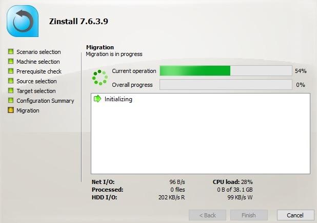 Migração do Zinstall em andamento entre o PC