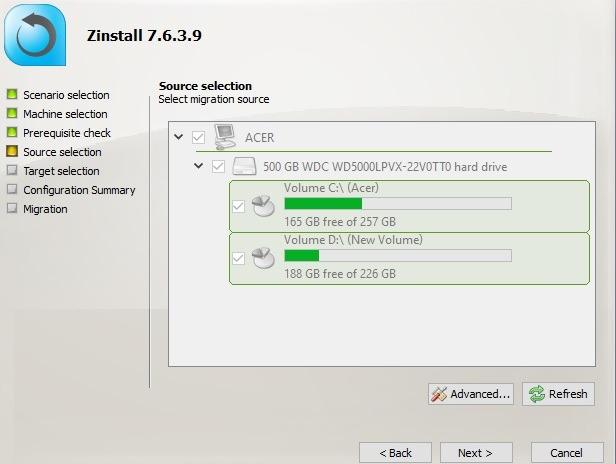Zinstall Selecione o perfil do usuário de origem de migração