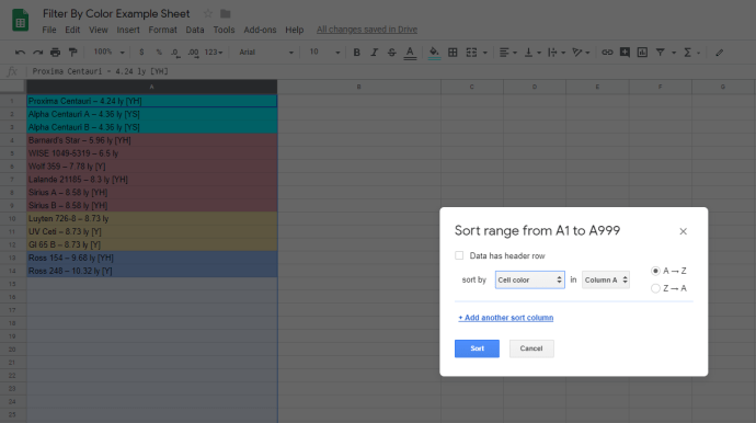Jak filtrować według koloru w Arkuszach Google 1