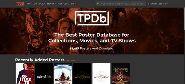 TPDb, strona z ponad 35 tysiącami dostępnych plakatów filmowych 1