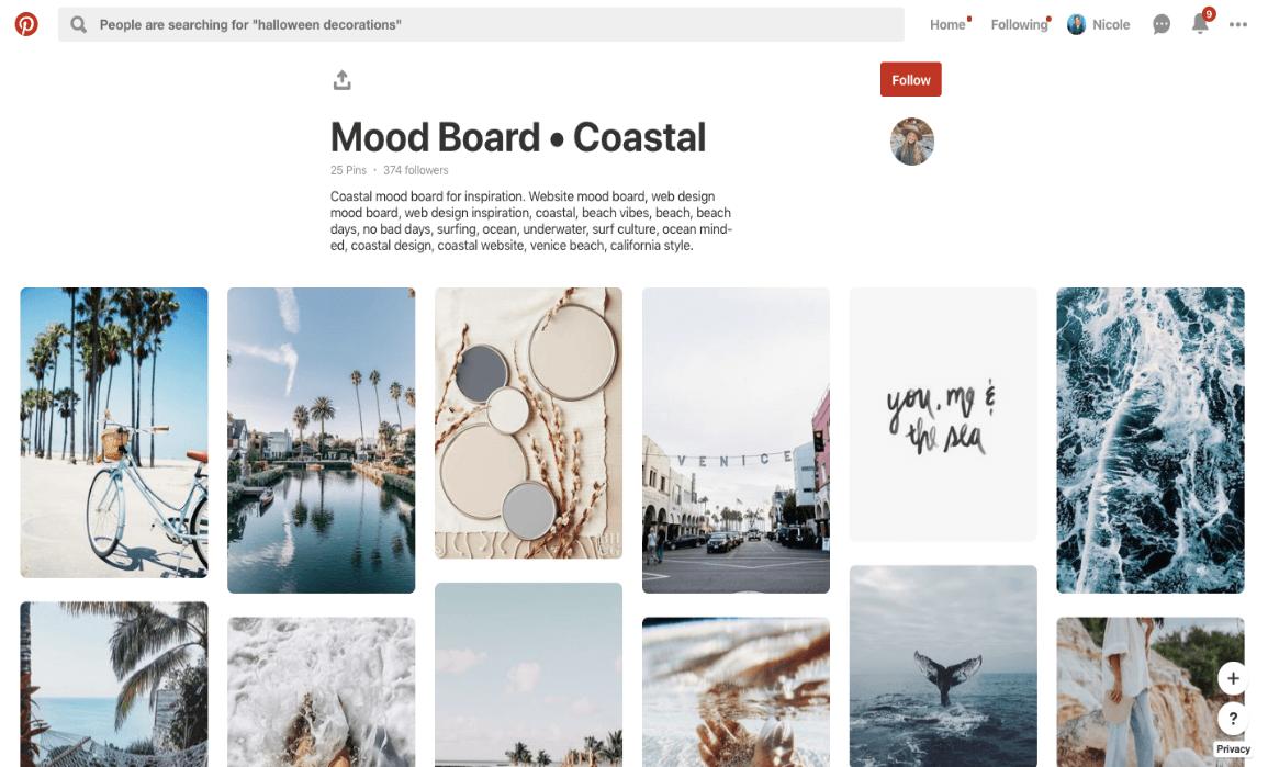 Stworzyć Instagram Estetyczny: Pinterest Tablica nastrojów