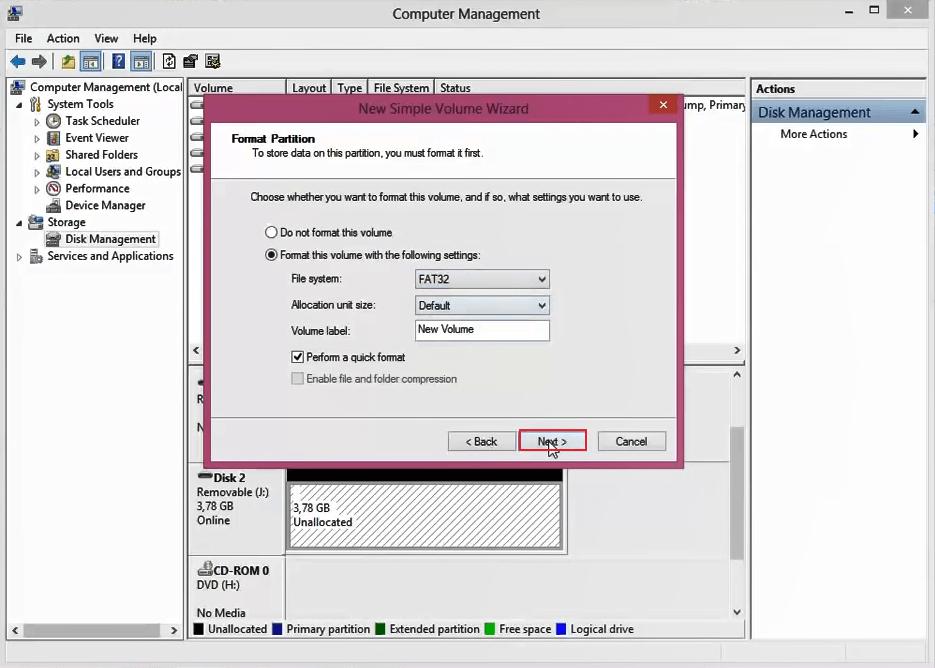 Derrota Windows O formato não pôde ser concluído 8