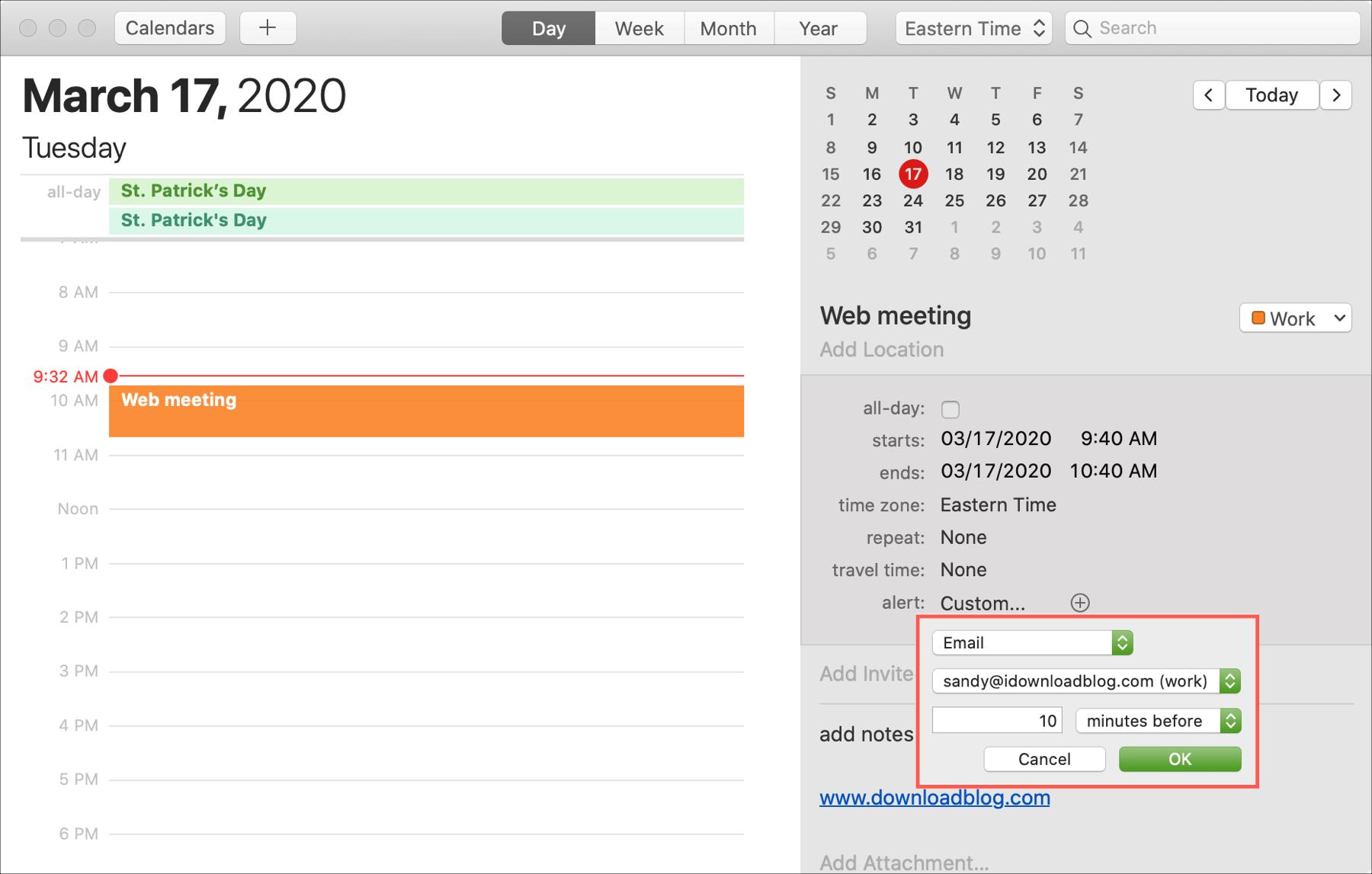 Custom Alert Mac -kalenteri