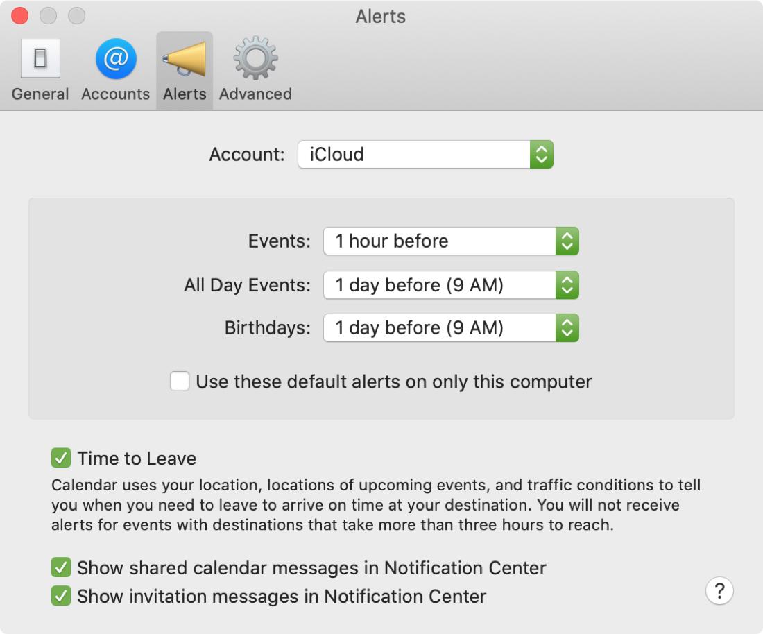 Mac-kalenterin hälytysasetukset