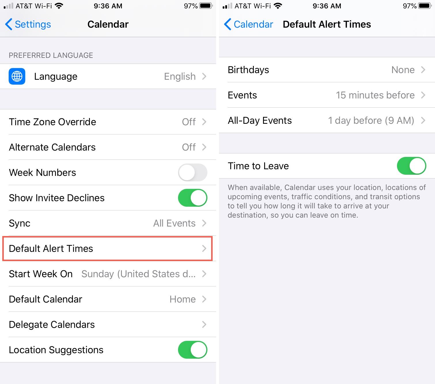 Asetukset Kalenteri iPhonen oletushälytysajat