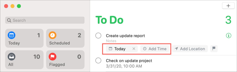 Muistutukset Nopea ilmoitus Macin päivämäärästä ja ajasta