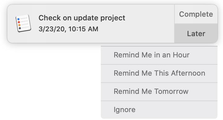 Muistutukset ilmoitukset myöhemmin Mac