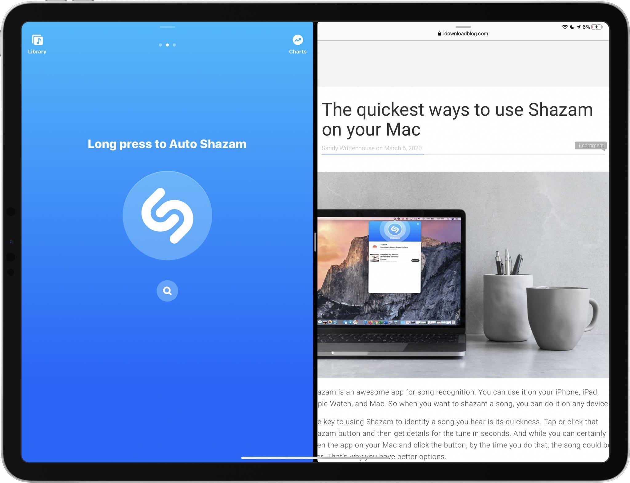 Apple- oma Shazam päivitetty tuella Split View -monitoiminnalle iPadissa 1