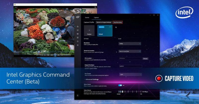 Intel päivittää grafiikkakomentokeskusta pelin sieppauksella ja lähetystoiminnolla 1