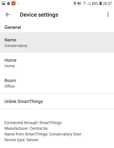 Você pode alterar o nome de qualquer dispositivo ou sensor do SmartThings no aplicativo Google Home.
