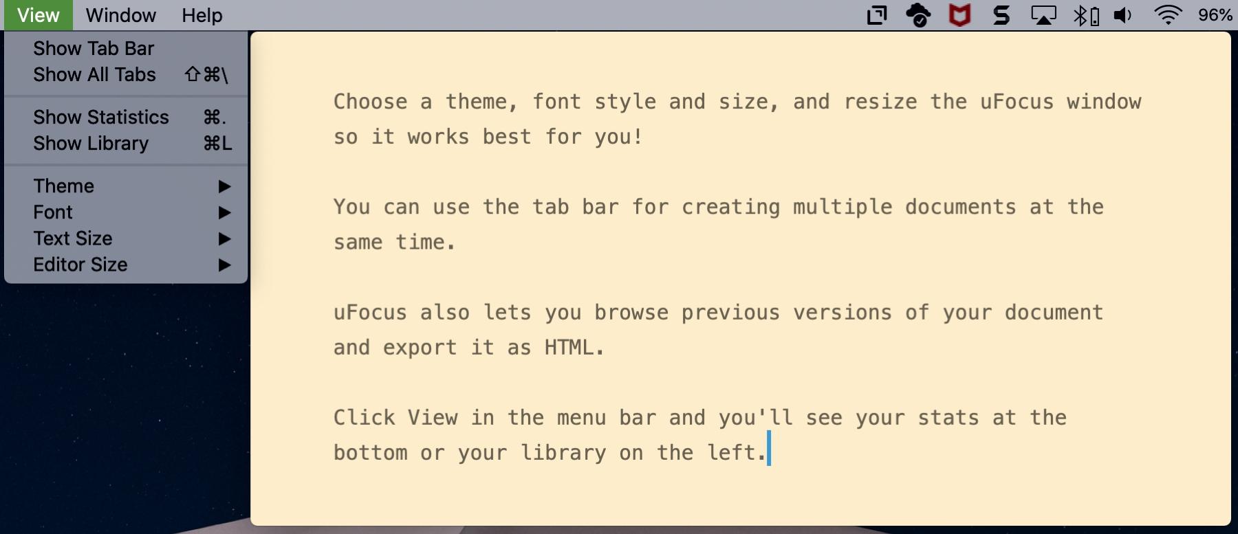 UFocus Mac -sovellus kirjoittamiseen ilman häirintää