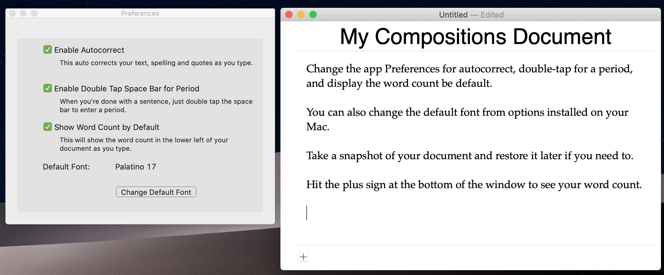 Teemat-sovellus Mac-tietokoneelle keskittyvää kirjoitusta varten