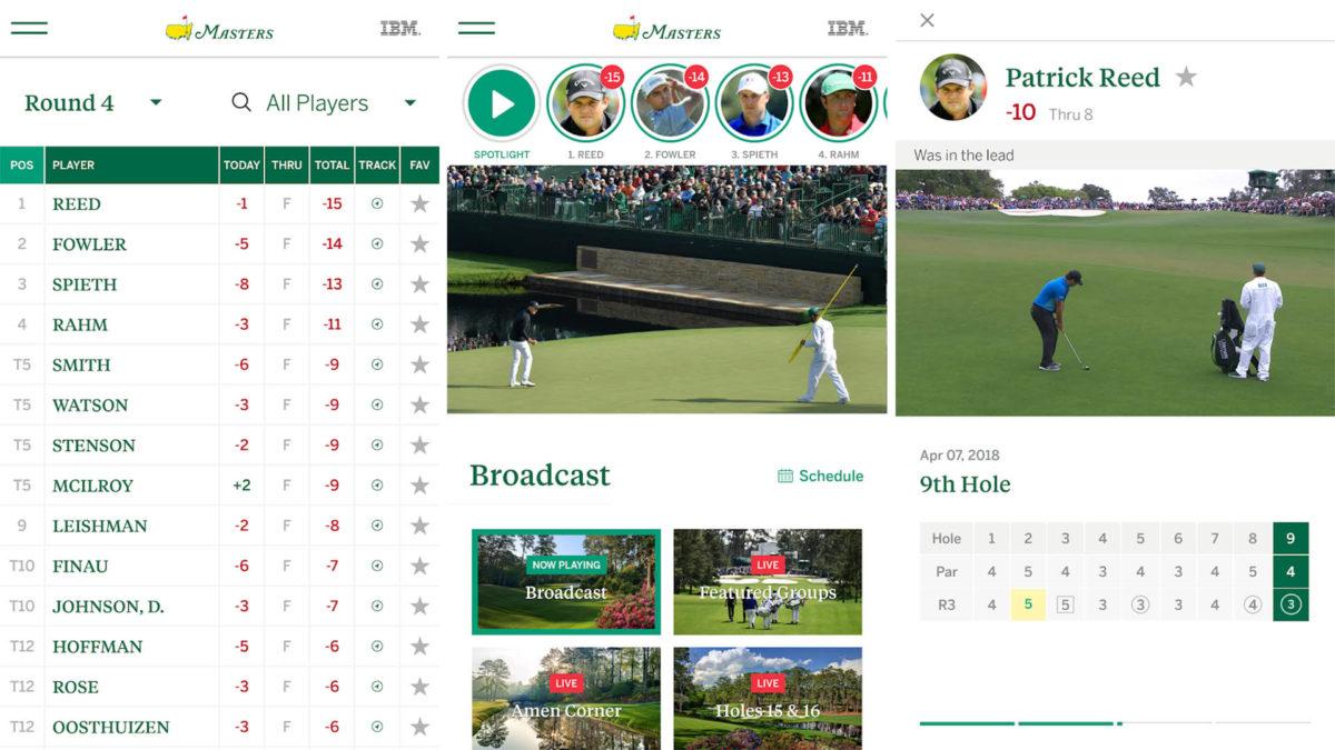 Näyttökuva Masters 2020 -golf-turnauksesta