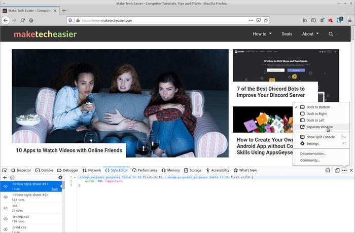 Live-editointisivusto erillisessä Firefox-ikkunassa