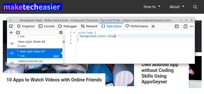 Живое редактирование сайта в Firefox Изменить цвет фона