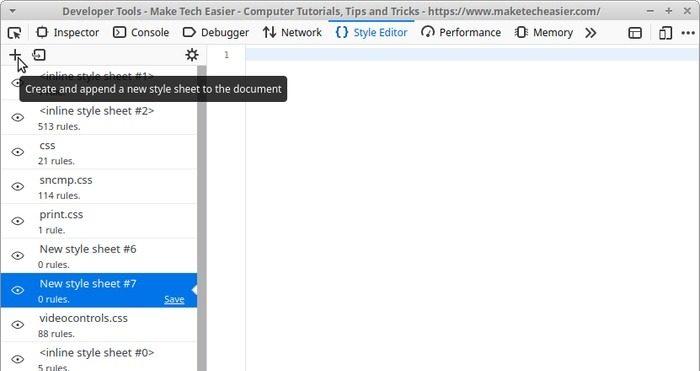 Страница редактирования в реальном времени с новой таблицей стилей Firefox