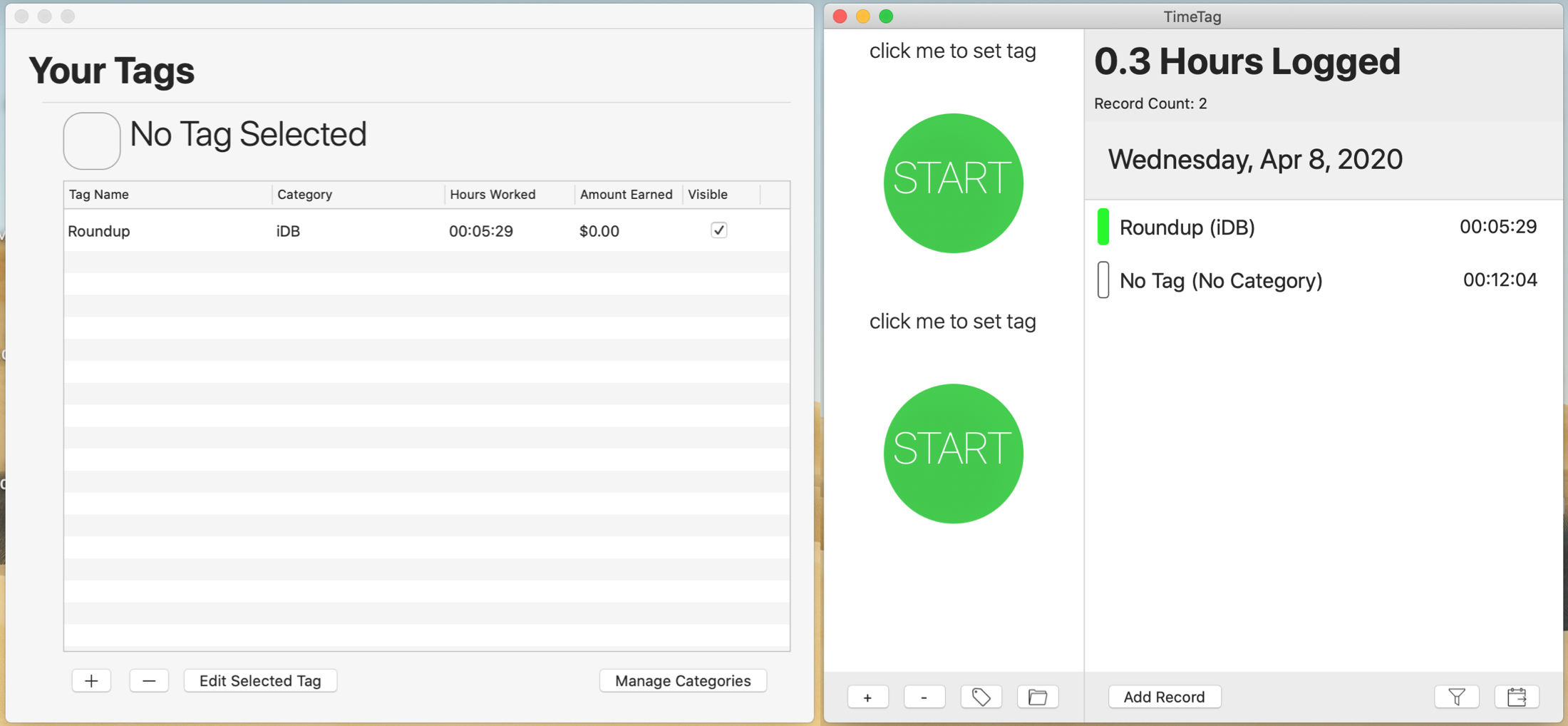 TimeTag Time Tracker for Mac