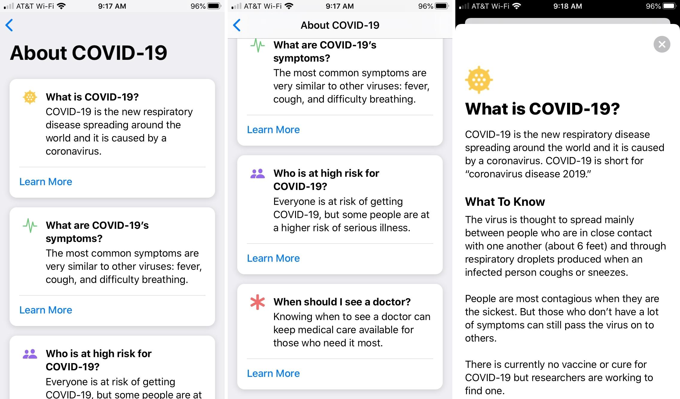Apple    COVID-19 iPhone App -tiedot