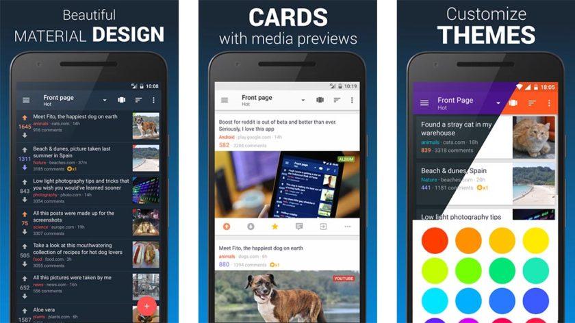 parantaa Androidin parhaita Reddit-sovelluksia
