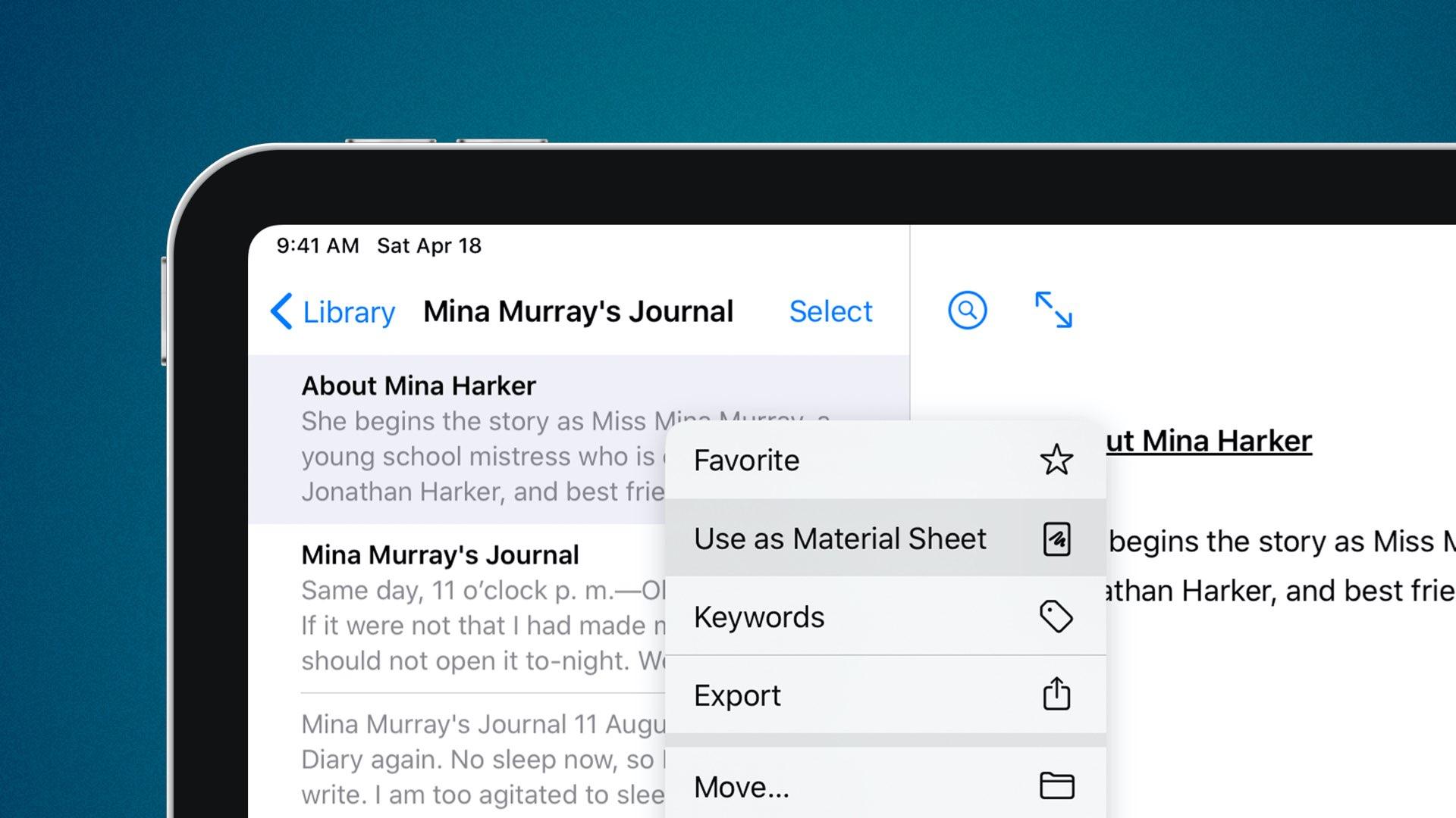 Ulysses kirjoittaa sovelluksen, joka on päivitetty tuella iPadin ohjauslevylle, avainsanoille, materiaalilevyille ja muille 4