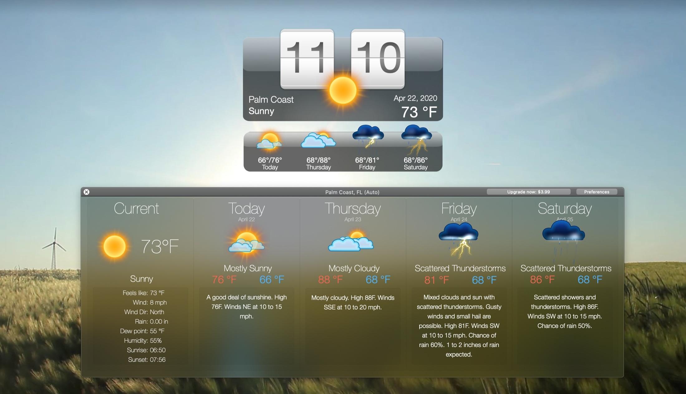 Elävä sää ja taustakuvat HD Mac