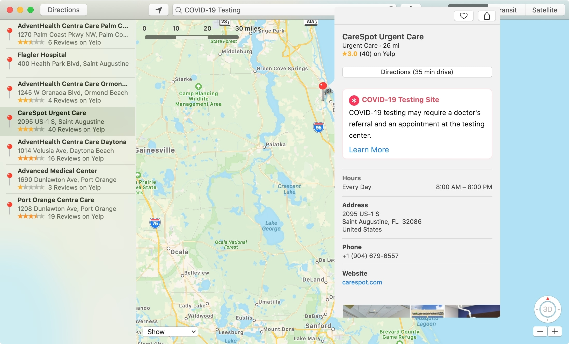 Nájdenie testov COVID Mapy Mac