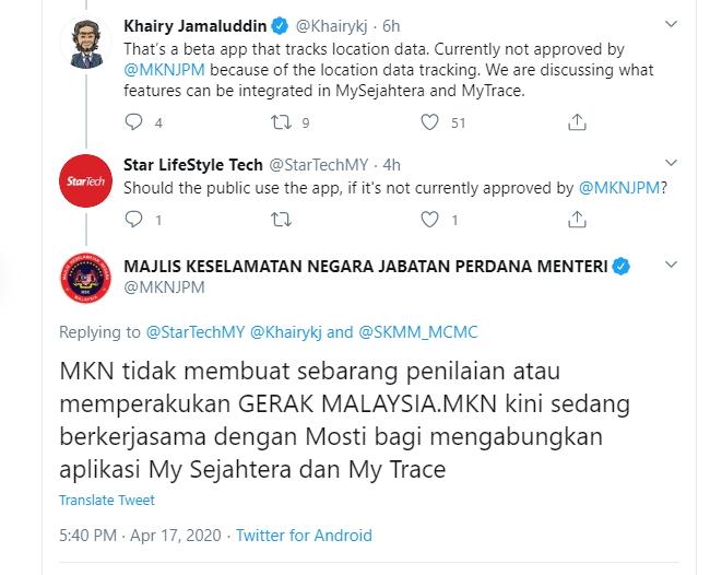 Kansallinen turvallisuusneuvosto ei ole hyväksynyt Gerak Malesian kontaktien seurantasovellusta 1