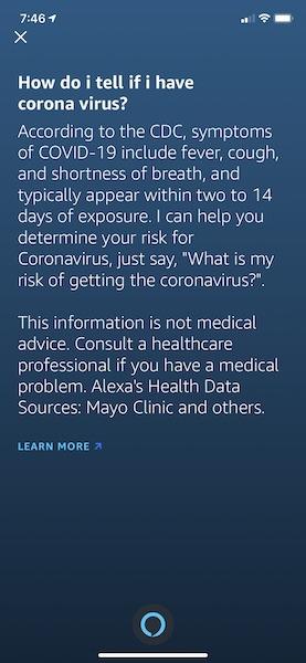 Amazon    Alexa Covid 19 Como diagnosticar