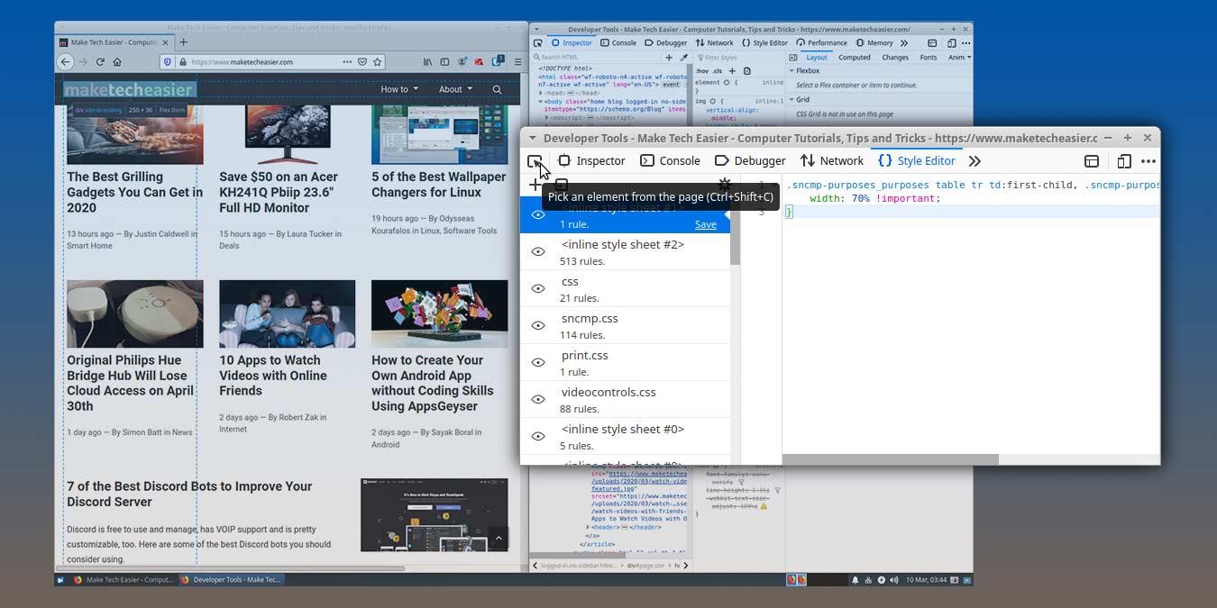 Sivun muokkaaminen Firefox Web Developer Tool -työkalun avulla
