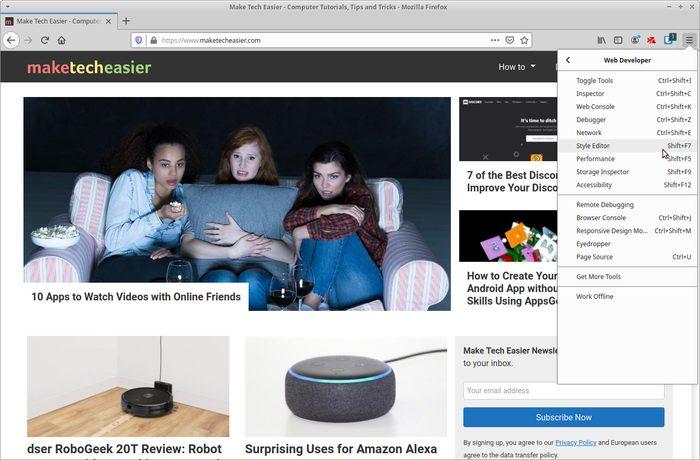 Sivusto reaaliaikaiseen muokkaukseen Firefox Launch Style Editorilla