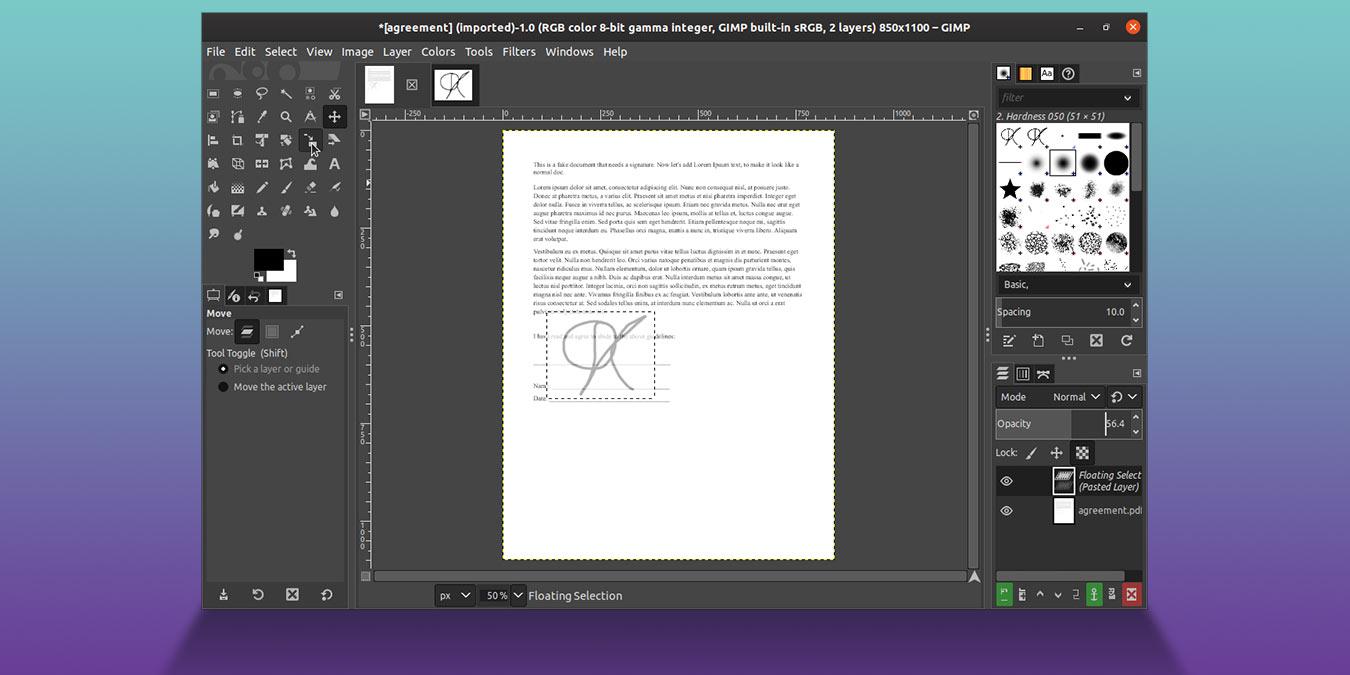 Kuinka allekirjoittaa asiakirja GIMP: llä