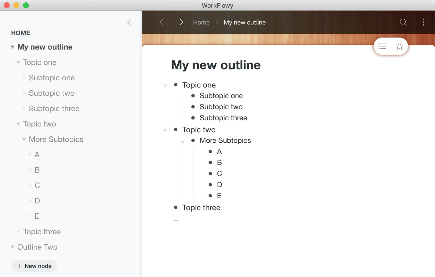 Ilmaiset ääriviivasovellukset Macille - WorkFlowy